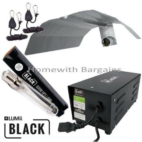 600w LUMii BLACK Magnetic Ballast Grow Flower Light Kit HPS Dual Spectrum Bulb,