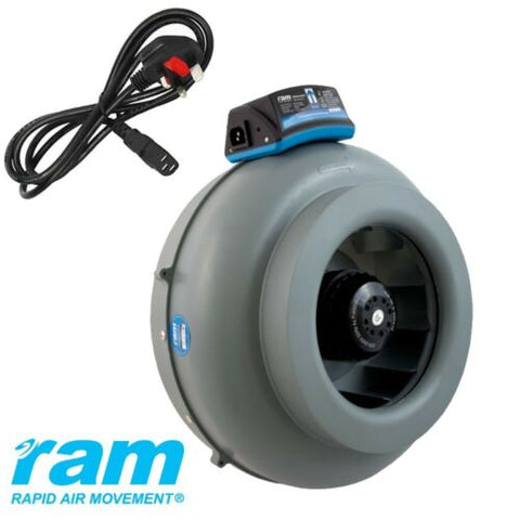"RAM In-line Duct Extractor Fan 4"" 5"" 6"" 8"" upto 1088 m3/hr Hydroponics UK Plug"