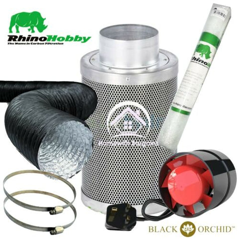 Rhino Hobby Carbon Filter Kit Air Odour Extraction Fan Combi Ducting Hydroponics
