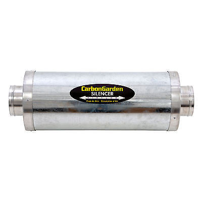 "6""- 8"" CARBON GARDEN Large Acoustic Rigid Insulated Silencer. Hydroponic Ducting"
