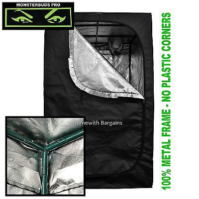 "120 x 120 x 200cm ""MONSTERBUDS PRO"" Silver Mylar Grow Room Box Tent Hydroponics"