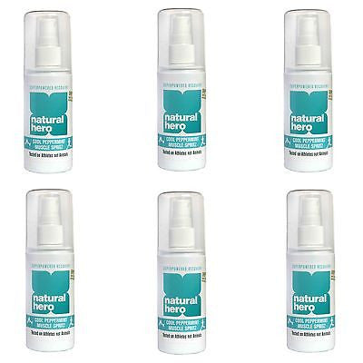 6 x 100ml Natural Hero Cool Peppermint Muscle Spray Spritz Sports Injury (600ml)