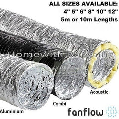 "Aluminium, Combi, Acoustic Insulated, Flexible Ducting 4"" 5"" 6"" 8"" 10"" 12 inch"