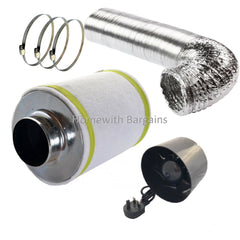 "4"" (100mm) Air Odour Control Kit: In-Line RAM Fan, Carbon Filter, Ducting"