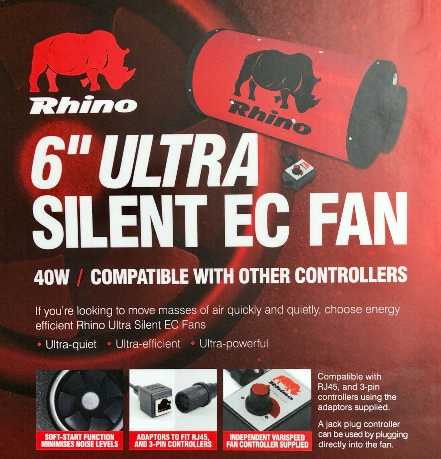 "RHINO ULTRA SILENT EC ACOUSTIC FAN Air Speed Control Ventilation 6"" 8"" 10"" HYDRO"