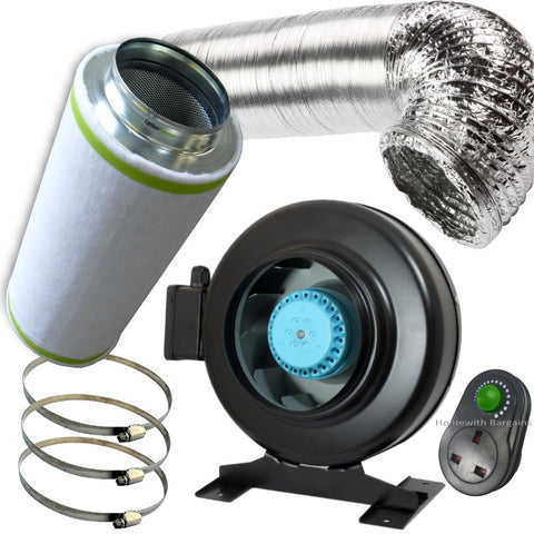 "4"" PRO Air Odour Control Kit: Vortex Extractor In-Line Fan Carbon Filter Ducting"