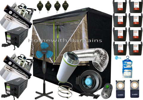 "Best Complete PRO Grow Room Full Setup 2.4m Tent 6"" Fan Filter 2 x 600w Light Kit"