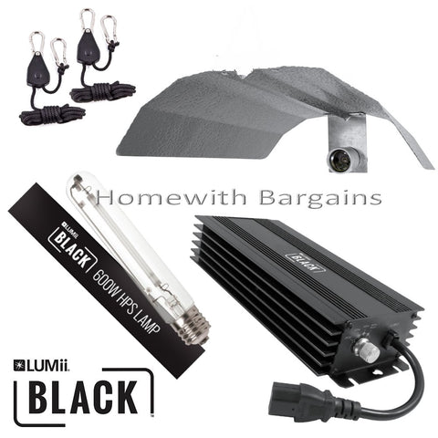 600w LUMii BLACK Dimmable Digital Ballast Grow Light kit HPS Dual Spectrum Bulb