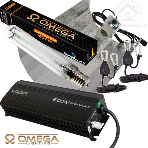 600w OMEGA BLACK Dimmable Digital Ballast Grow Light Kit, Reflector Hood, HPS Dual Lamp