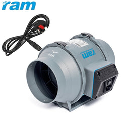 "5"" (125mm) RAM Inline Mixed Flow UK Plug Hydroponics Twin Speed Grow Fan"