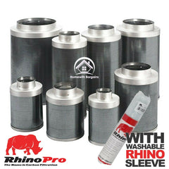 "Carbon Filter RHINO PRO 4"" 5"" 6"" 8"" 10"" 12"" includes SLEEVE Odour Control Hydro"
