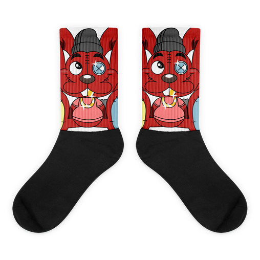 Thready the Rabbit - Black Foot Socks
