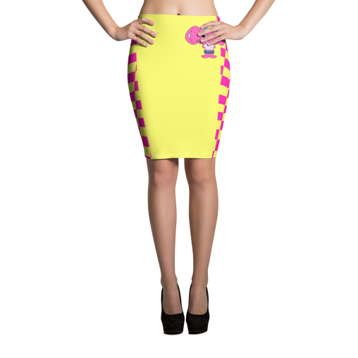 Needles the Rabbit Checkers Pencil Skirt - Yellow/Pink