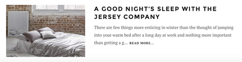 A GOOD NIGHT'S SLEEP WITH THE JERSEY COMPANY