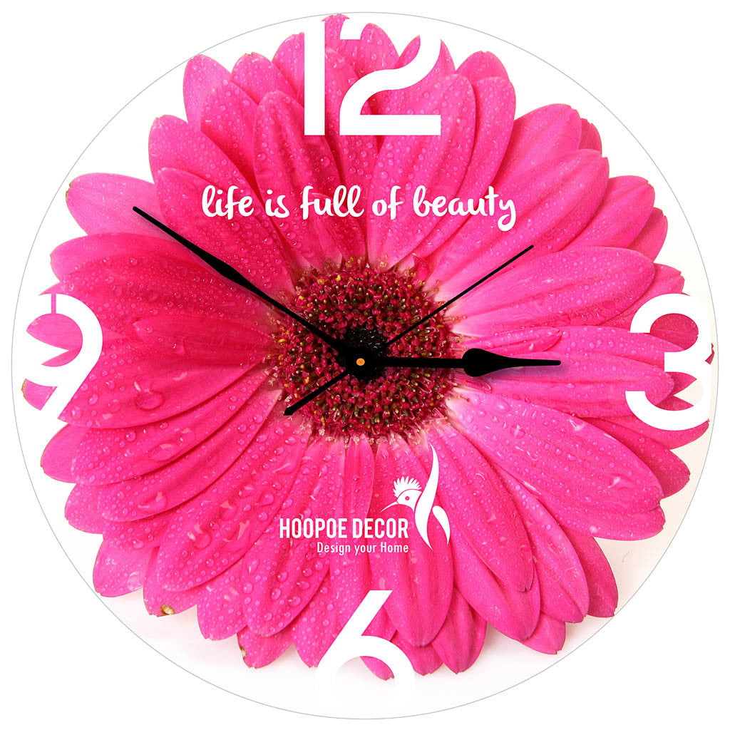 Hoopoe decor beautiful pink flower trendy designer wall clock beautiful pink flower mightylinksfo
