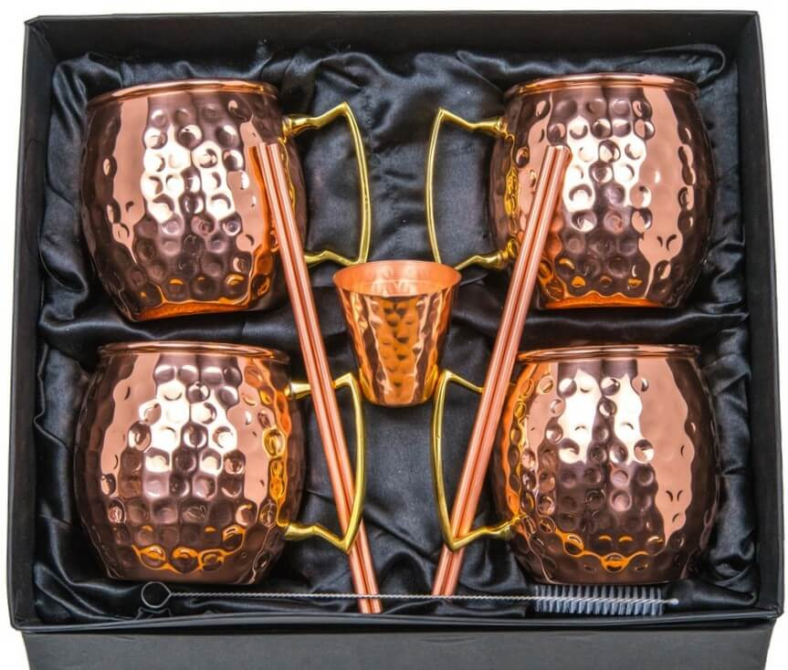 Copper Mugs Moscow Mule Gift Set of 4 - 100% Pure Solid Hammered Copper