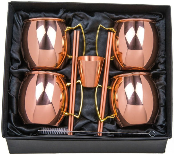 Moscow Mule Copper Mugs Gift Set - 100% Pure Copper (Set of 4) - 16 Ounce