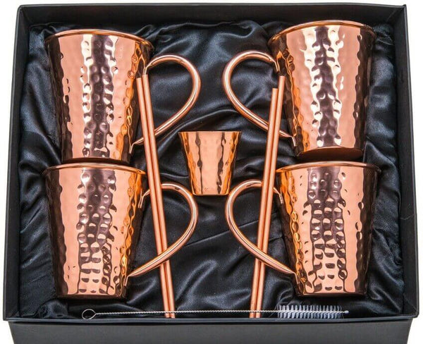 Moscow Mule Copper Mugs - Pure Hammered Solid Copper - Gift Set Bundle of 4 - 16oz