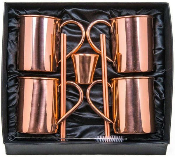 Moscow Mule Copper Mugs Set Of 4 - HANDCRAFTED 100% Pure Solid Copper