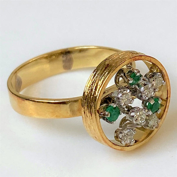 Designer 18ct Gold Emerald and Diamond Ring