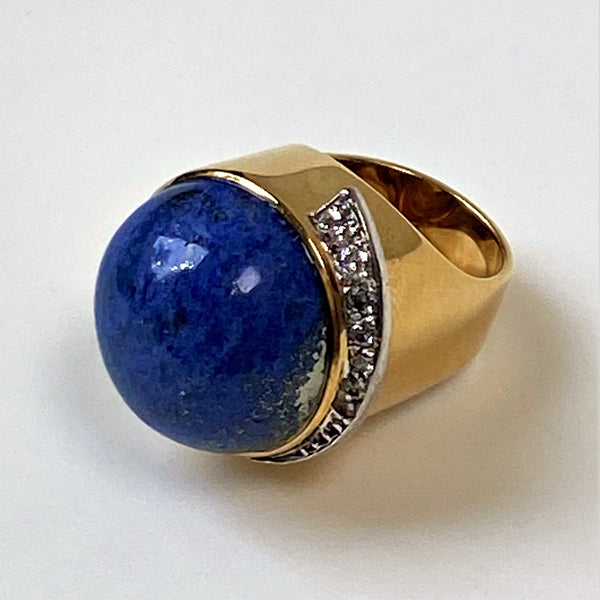 Designer 18ct Gold Lapis Lazuli and Diamond Ring