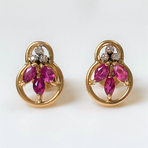 14ct Gold, Ruby and Diamond Stud Earrings