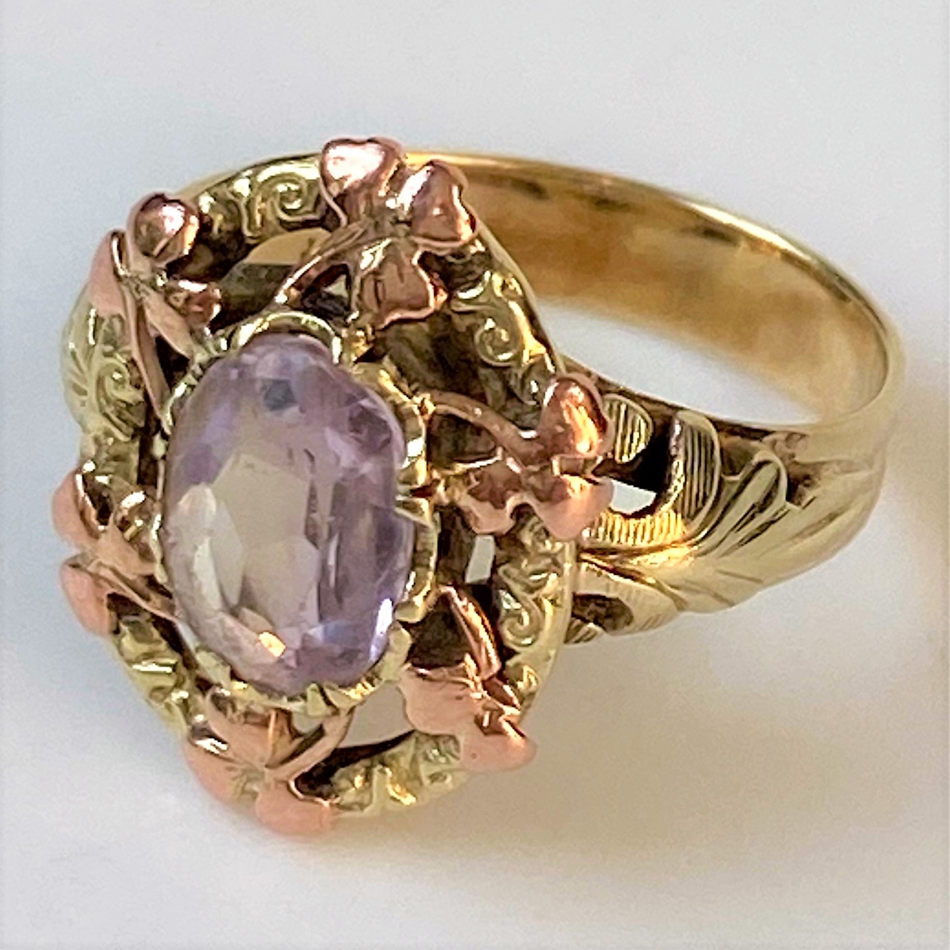 Antique 14ct Gold and Rose Quartz Ring