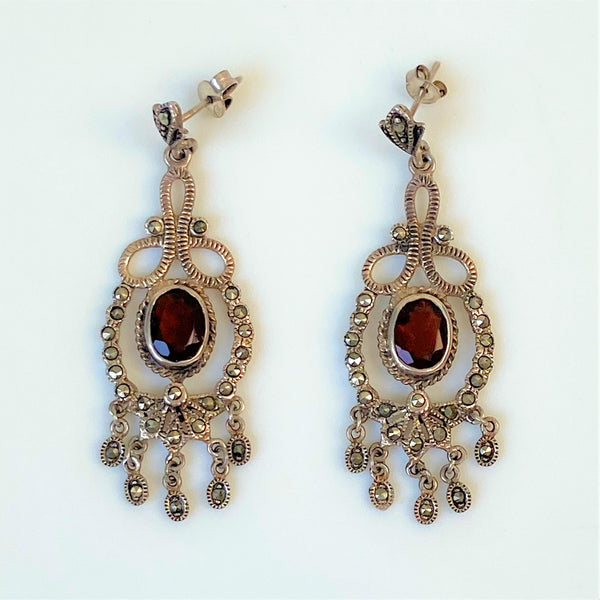 Silver, Garnet and Marcasite Drop Earrings