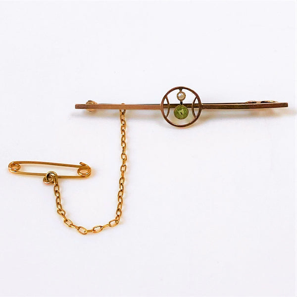 Antique 9ct Gold Peridot and Pearl Brooch