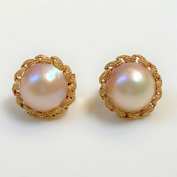 9ct Gold and Mabe Pearl Stud Earrings