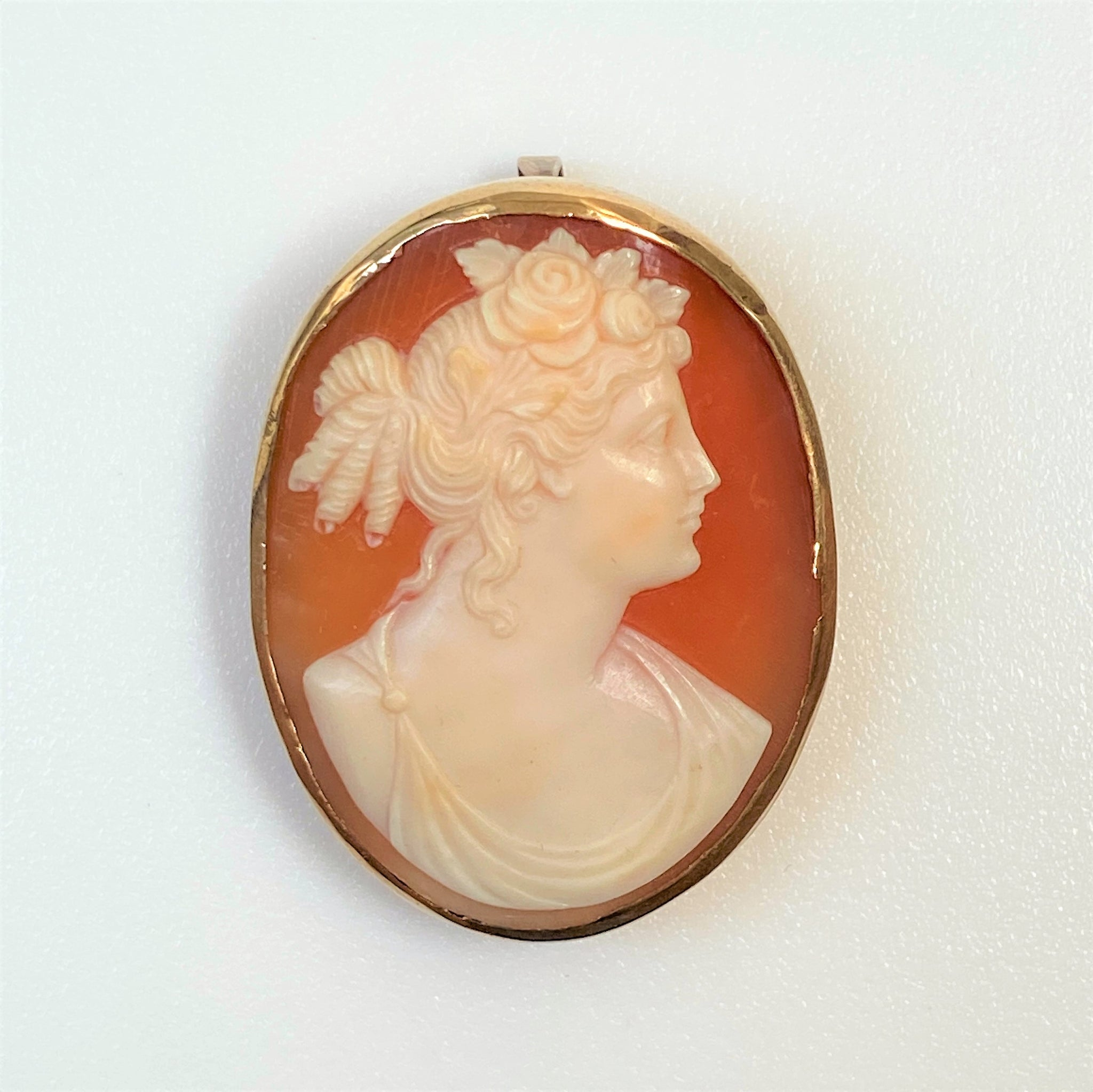 Vintage 9ct Gold and Shell Cameo Brooch / Pendant