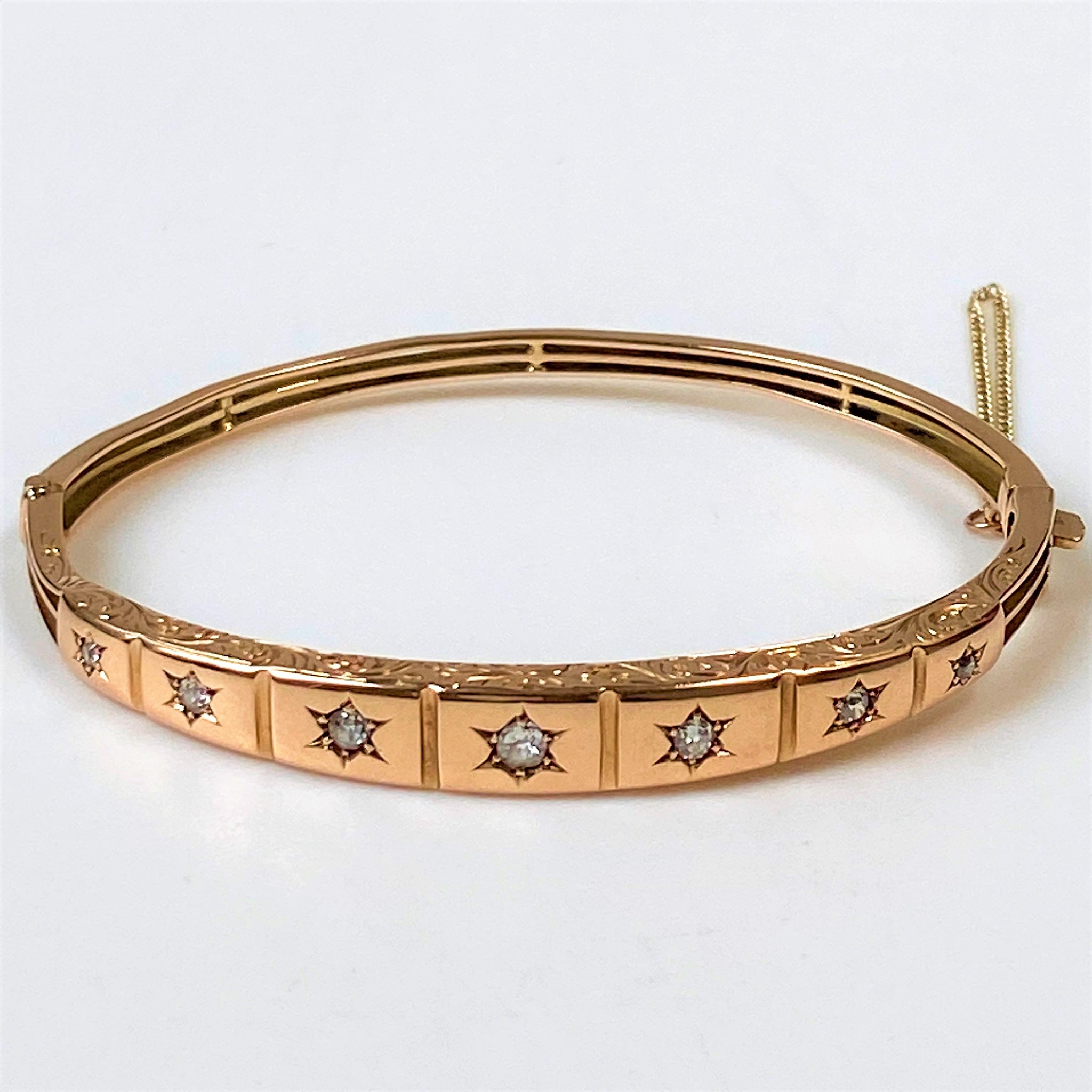 Antique 14ct Gold Hinged Bangle with Diamonds