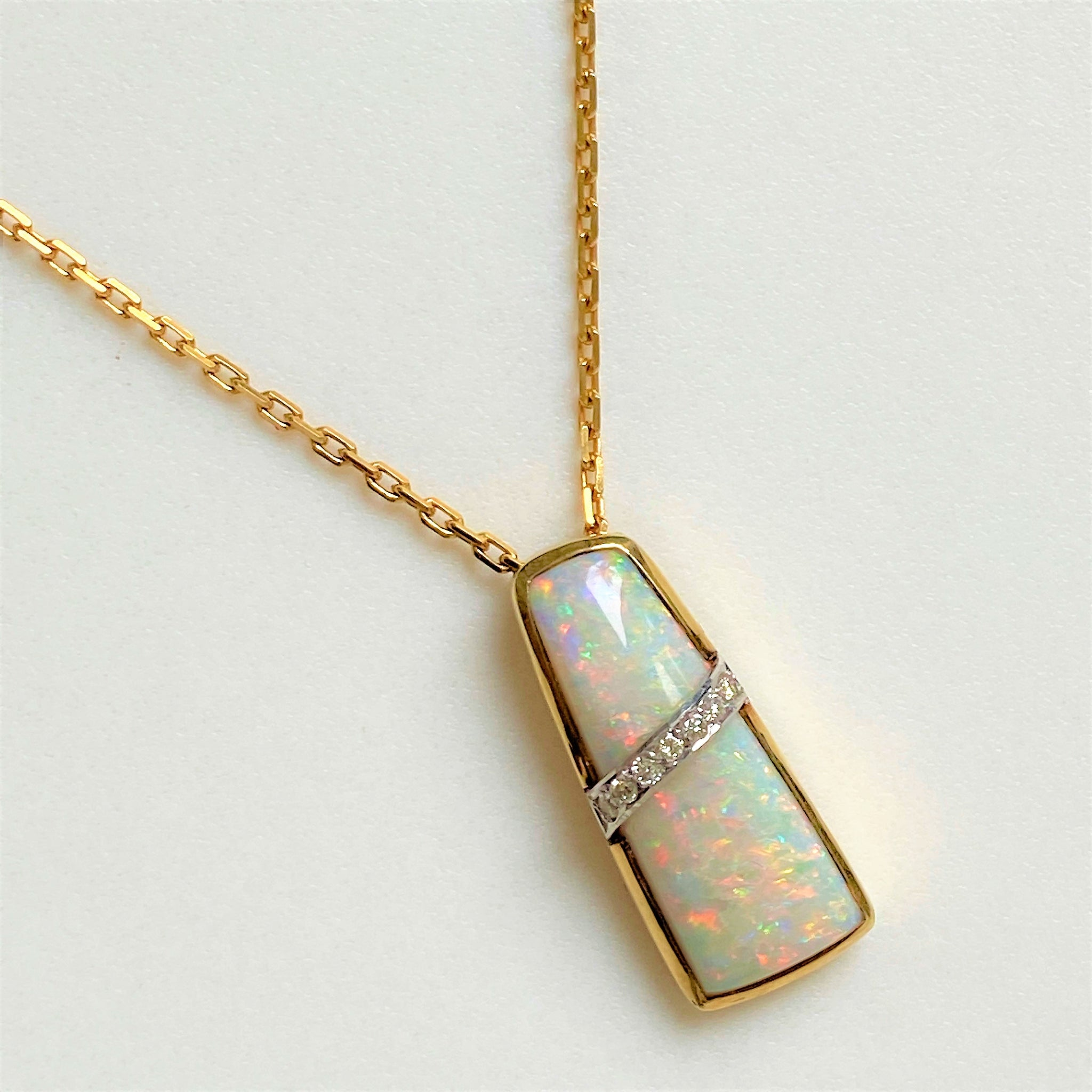 14ct and 9ct Gold, Opal and Diamond Pendant Necklace