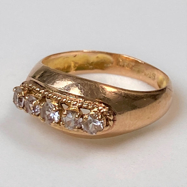 Vintage 14ct Gold and White Sapphire Ring