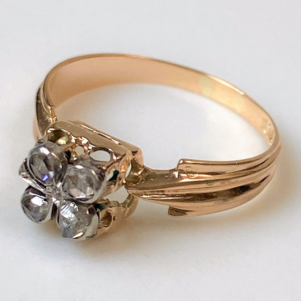 "Vintage 14ct Gold and Diamond ""Four Leaf Clover"" Ring"