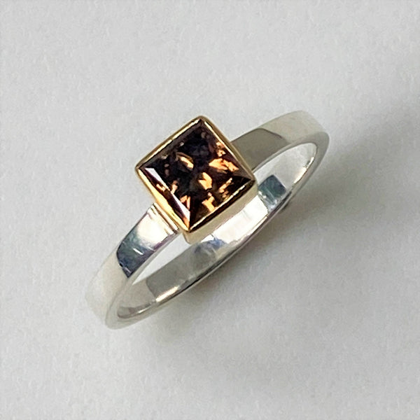 18ct Gold, Sterling Silver and Fancy Dark Brown Diamond Ring