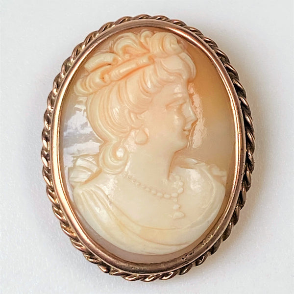 Vintage 9ct Gold and Shell Cameo Brooch