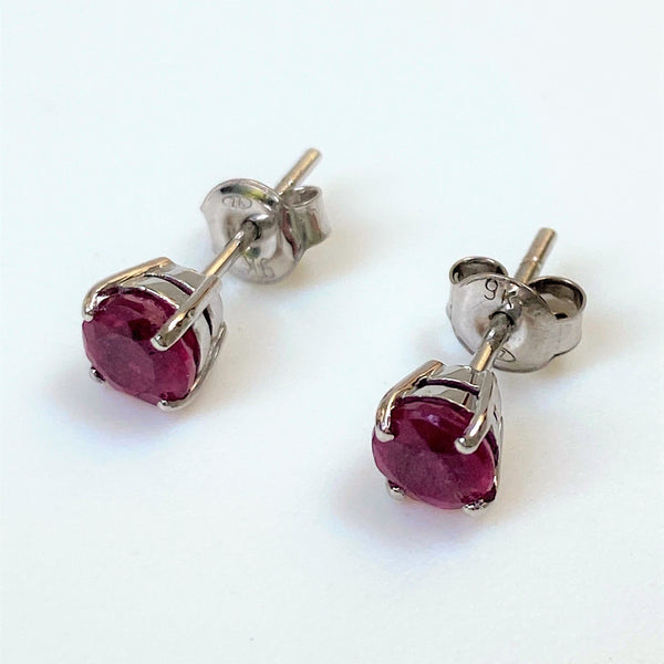 9ct White Gold and Ruby Stud Earrings