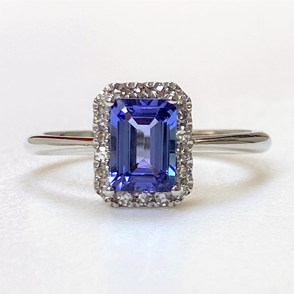 9ct White Gold, Tanzanite and Diamond Ring