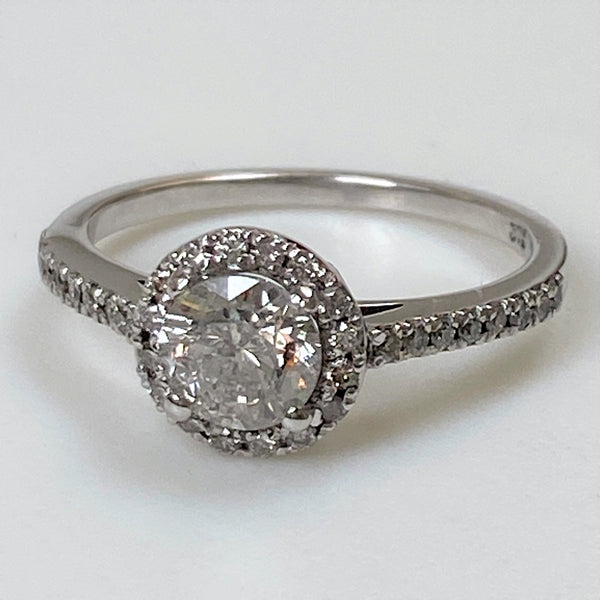 9ct White Gold and Diamond Halo Ring