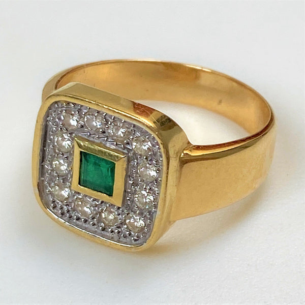18ct Gold, Emerald and Diamond Ring