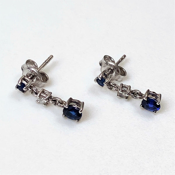 9ct White Gold, Sapphire and Diamond Drop Earrings