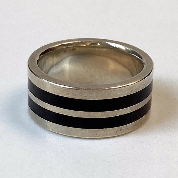 Silver and Zericote Wood Ring by Ivan Jeweller