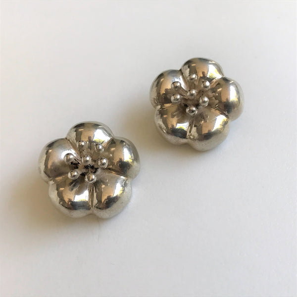Mexican Silver Clip-on Flower Earrings