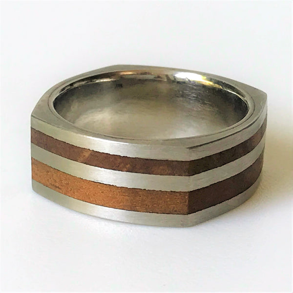 Palladium and Wild Olive Wood Ring by Ivan Jeweller