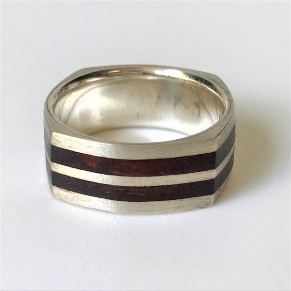 Sterling Silver and Kakula Wood Ring