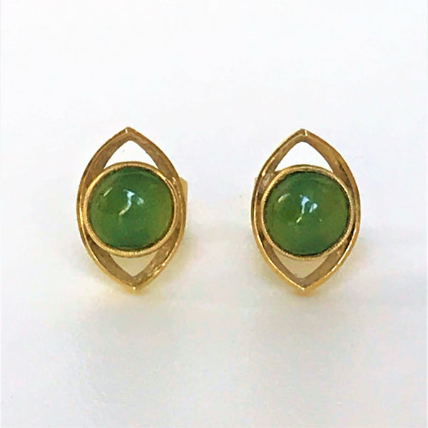 18ct Gold and Jade Stud Earrings