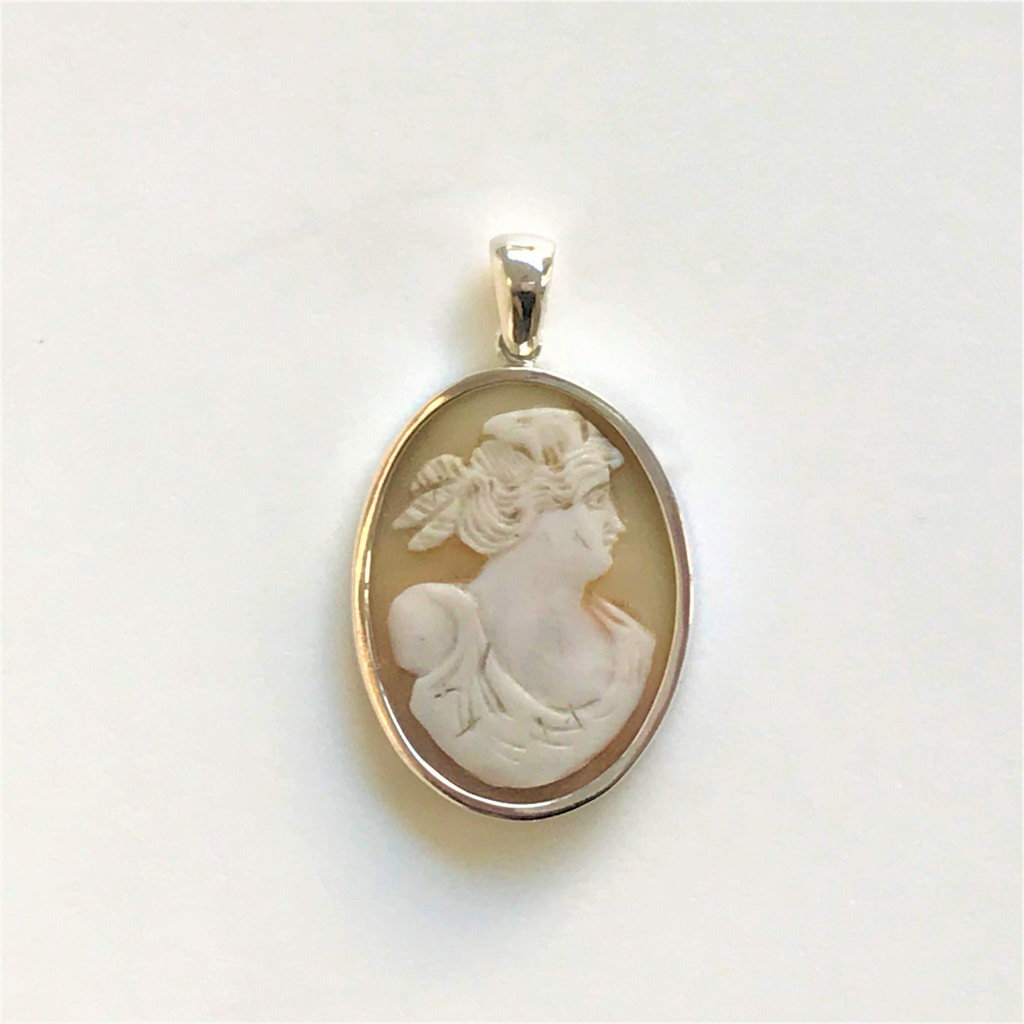 Silver and Shell Cameo Pendant