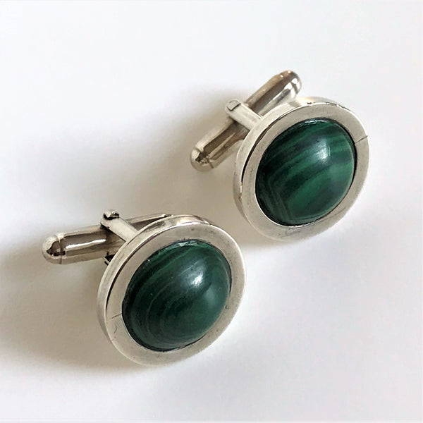 Sterling Silver and Malachite Cufflinks