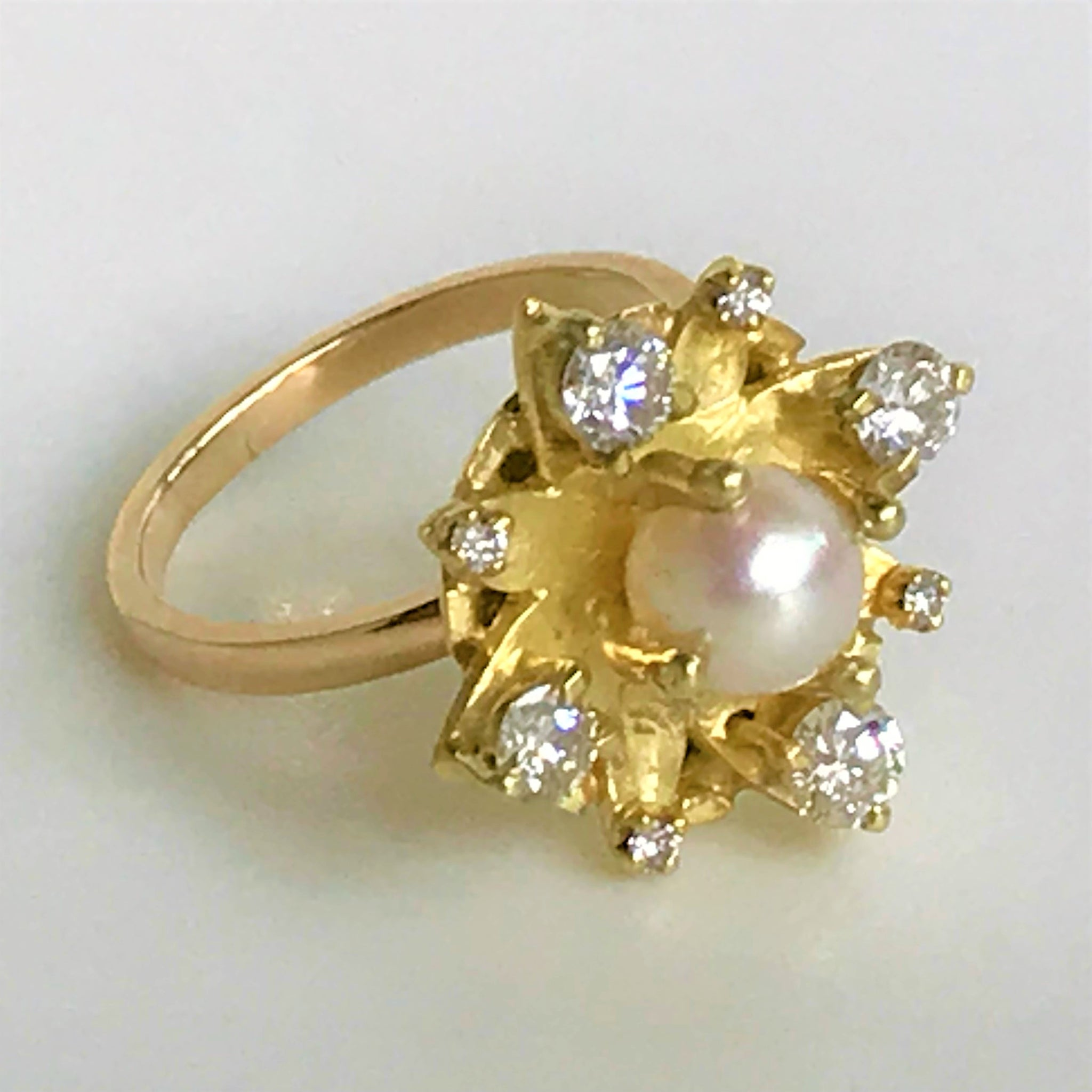 18ct Gold, Pearl and Diamond Ring